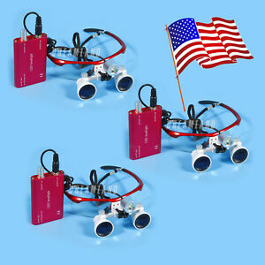 3 Pcs Dental Surgical Binocular 3 5x Loupes Glasses Magnifier Led Head Light Red