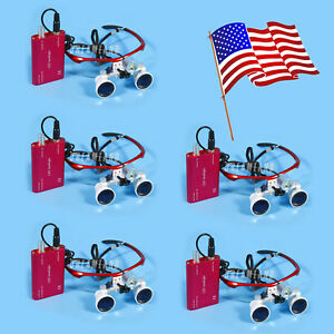 5 Pcs Dental Surgical Binocular 3 5x Loupes Glasses Magnifier Led Head Light Red
