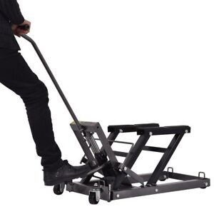 1500lb Motorcycle Atv Jack Lift Stand Quad Dirt Street Bike Hoist Universal Tool