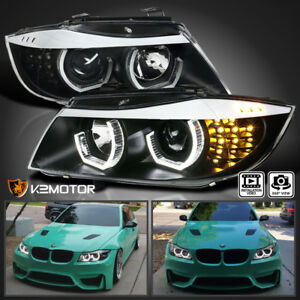 Black 2006 2008 Bmw E90 3 Series 4dr Led Facelift 3d Halo Projector Headlights