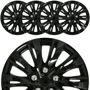 15 Set Of 4 Black Wheel Covers Snap On Full Hub Caps Fit R15 Tire Steel Rim