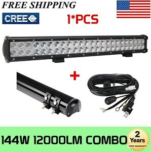22 Inch 144w Led Work Light Bar Spot Flood Combooffroad 4wd Truck Atv Wiring Kit