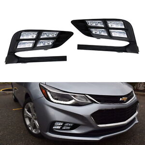 Direct Fit 10w White Led Daytime Running Light fog Lamps For 2017 19 Chevy Cruze