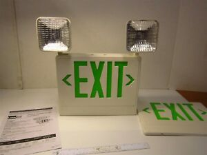 Lumapro 6cgl8 Incandescent Green Exit Sign With Emergency Lights 5 4 Watts