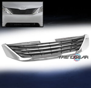 For 2011 2017 Toyota Sienna Front Hood Upper Grille Grill Shell Abs Black Chrome
