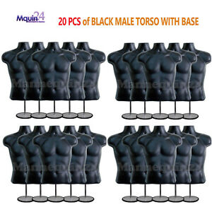20 Male Mannequins Lot Of 20 Black Mens Torso Forms W 20 Stands