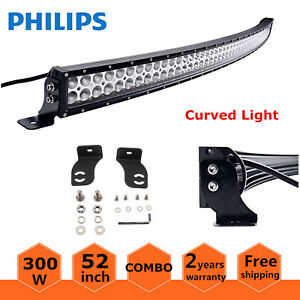 Philips 52 Inch 300w Curved Led Work Light Bar Combo Off Road 4wd Jeep Ford 53