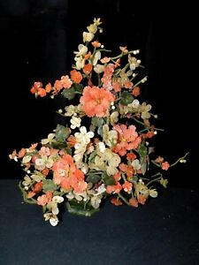 Magnificent Rare Estate Vintage Chinese Jade And Silk Bloom Plum Tree