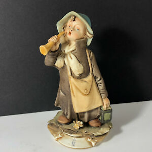 Capodimonte Italy Figurine Porcelain Statue Sculpture Antique Girl Trumpet Horn