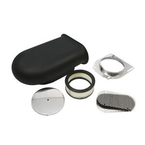 Black Aluminum Hilborn Style Smooth Hood Air Scoop Kit 4 Barrel Carburetor