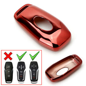 Chrome Red Tpu Key Fob Case For Ford Or Lincoln 4 5 Button Intelligent Keyless