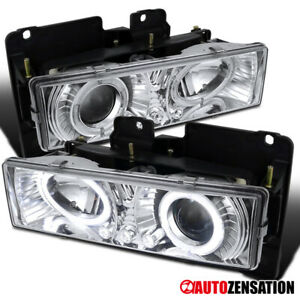 For 88 98 Chevy Gmc Sierra Yukon C10 C K Clear Led Halo Projector Headlights