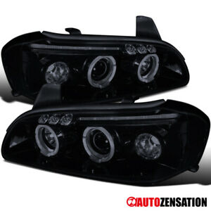 For 2000 2001 Nissan Maxima Glossy Black Led Halo Projector Headlights Lamps