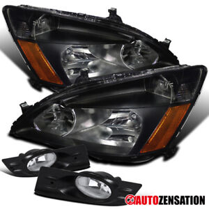 For 2006 2007 Honda Accord 2dr Coupe Black Clear Headlights Clear Fog Lamps Pair