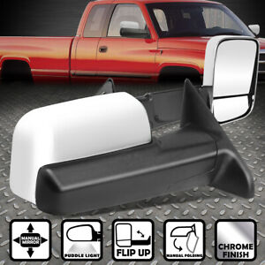 For 2009 2016 Dodge Ram 1500 5500 Truck Chrome Manual Flip Up Side Towing Mirror