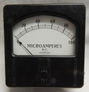 Vintage Panel Gauge Dc Microamperes 0 100 The Weston Electrical Corp Amps 731