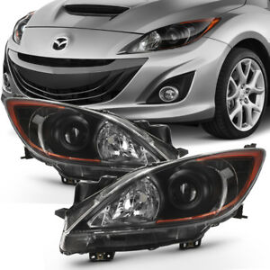 Black 2010 2013 Mazda 3 Mazda3 Headlights Headlamps Light Lamp Left Right 10 13