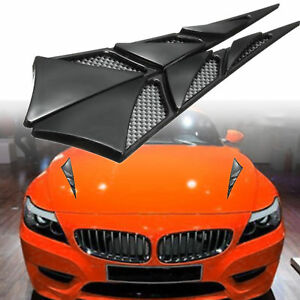 2x Universal Abs Car Hood Side Air Intake Flow Vent Cover Decorative Stick Black