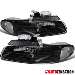 For 1996 2000 Dodge Grand Caravan Town country Black Clear Headlights Lamps Pair