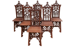 Beautiful And Well Carved Set Of 6 Gothic Dining Chairs 19th Century Oak