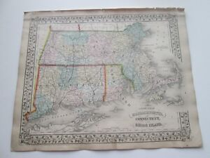1871 Antique Map Of Mass Connecticut Rhode Island By S Augustus Mitchell