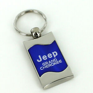 Jeep Grand Cherokee Blue Spun Brushed Metal Key Ring