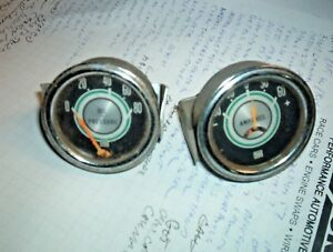 Vintage Used Stewart Warner Green Line Oil Pressure 0 80 Amp 60 Gauges