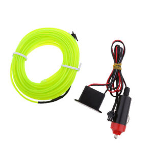 3m Green Neon Led Light Glow El Wire Strip Tube Car Party With Inverter