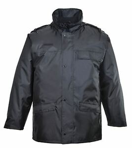 Security Jacket Rain Coat Waterproof Radio Loop Roll Away Hood Guard Workwear