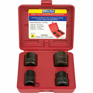 Ken Tool 30254 1 2 Dr 4 Pc Lug Nut Removal Impact Socket Set With Case