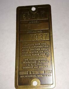 Antique Briggs Stratton Serial Tag Model Zh 7937