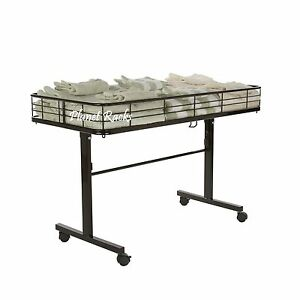 Planet Racks Heavy Duty Folding Mobile Impulse Dump Table Black