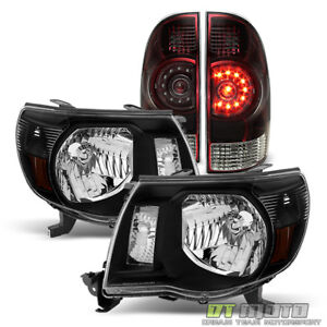 For 2005 2011 Toyota Tacoma Black Headlights Blk Tinted Tail Light Left Right