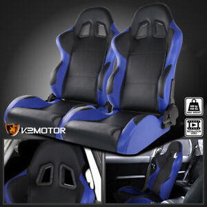 Black blue Pvc Leather Full Reclinable Sports Racing Seats W Sliders Left right