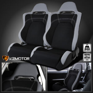 Reclinable Cloth Black Center Gray Trim Sport Racing Seats W sliders Left right