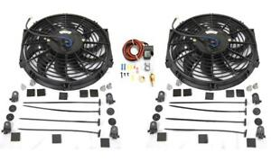 Dual 12 S Blade Heavy Duty Electric Radiator Cooling Fan Thermostat Mount Kit