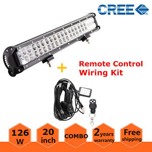 20 126w Cree Led Light Bar Flood Spot Offroad Work Light With Remote Wiring Kit