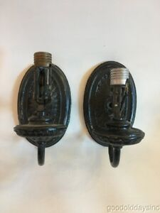 Pair Of Antique Brass Single Arm Wall Sconces Painted Black