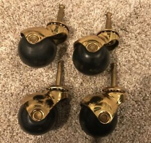 4 Vtg 2 Brass Hooded Rubber Ball Bearing Caster Chair Wheels Free Priority Ship