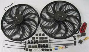 Dual 16 Extreme Duty S blade Electric Cooling Radiator Fan 210 Thermostat Kit