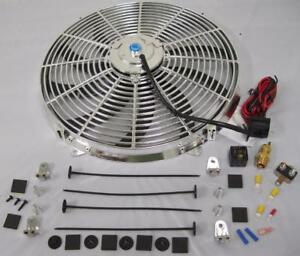 16 Chrome Electric S Blade Heavy Duty Cooling Radiator Fan Thermostat Kit