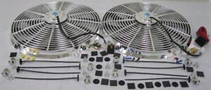 Dual 16 Chrome Electric S Blade Hd Cooling Radiator Fan Thermostat Relay Kit