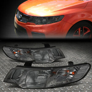 For 10 13 Kia Forte Pair Smoked Lens Clear Corner Driving Headlight lamps Set