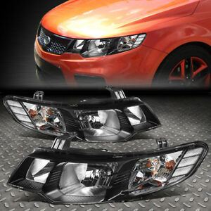 For 10 13 Kia Forte Pair Chrome Housing Clear Corner Driving Headlight lamps Set