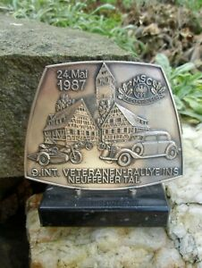 Rare Original German Rally Badge Showing Motorcycle Side Car Paperweight