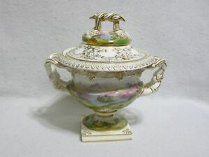 Very Old Hand Painted Porcelain Covered Compote Early Duesbury Derby