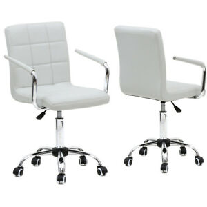 New Modern Office Leather Chair Swivel Executive Computer Desk Task White