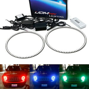 Rgb Led Headlight Angel Eye Halo Ring Kit For 15 Jeep Renegade 07 14 Fj Cruiser