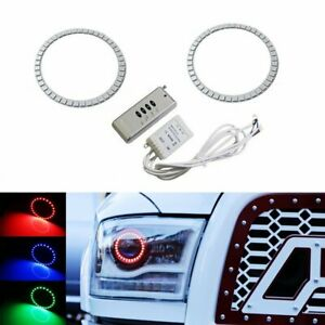 Rgb Led Projector Headlight Angel Eye Halo Ring Kit For 13 18 Dodge Ram Retrofit