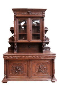 Large Antique French Hunt Cabinet Oak 19th Century